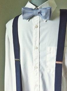 Dark navy linen suspenders