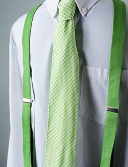 Lime linen suspenders