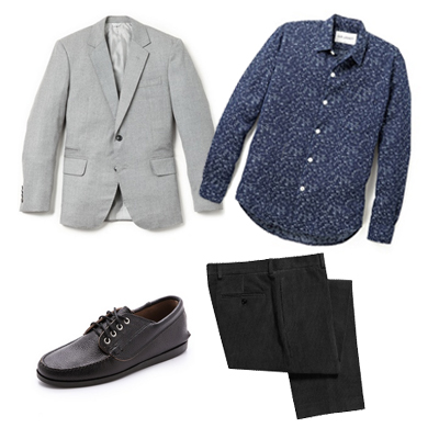 The same shirt we used in the previous outfit can be incorporated in a dressier outfit, by mixing it with more formal pieces, such as a gray jacket and a black pair of pants.