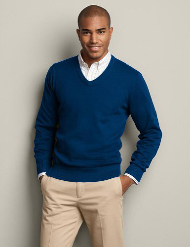 Man in sweater and shirt