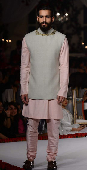 A buttonless Nehru jacket from Varun Bahl's menswear collection