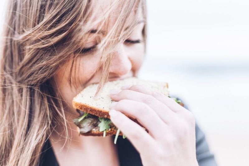 Girl eating vegan