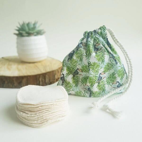 Reusable Cotton Pads (Toucan wash bag) – Leave No Trace