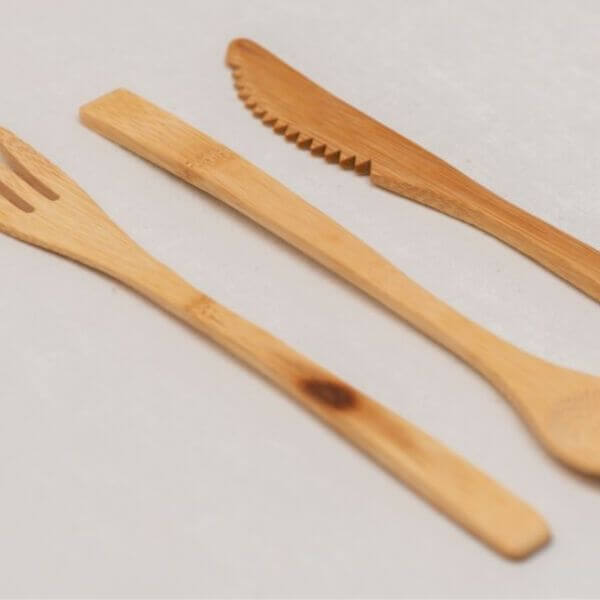 Reusable Bamboo Travel Cutlery Set (Mustard Geometric pouch) – Leave No Trace