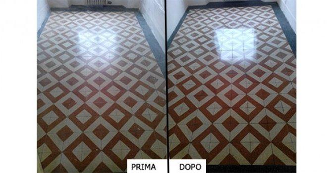 trattamento pavimento in graniglia prima e dopo