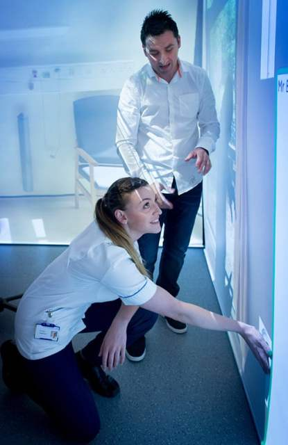 Nursing Students learn how to use the Immersive Suite