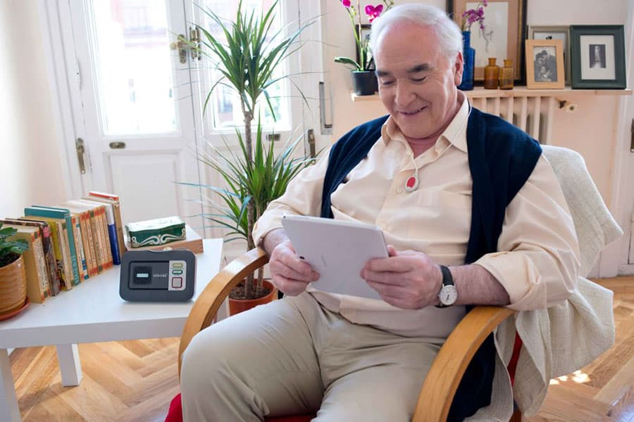 Man with telecare device image