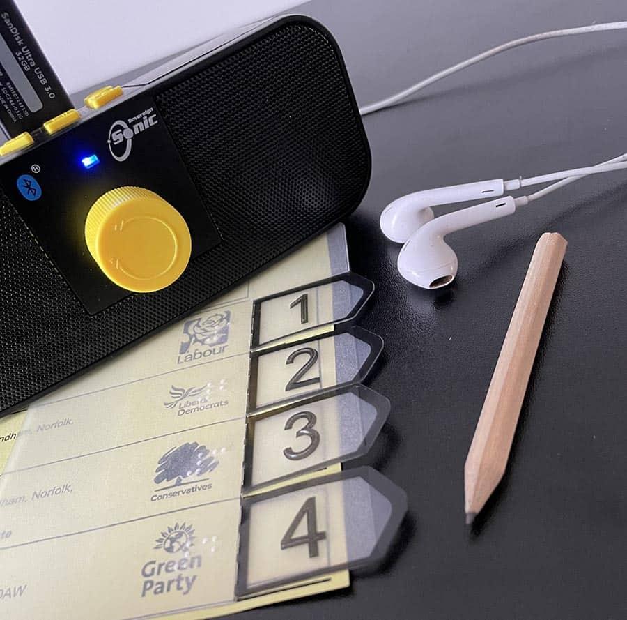 RNIB voting trial audio device image