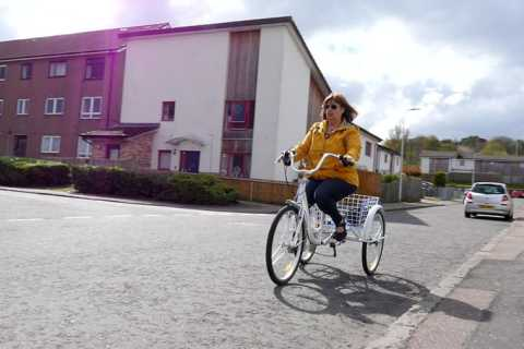 Lady on bicycle image
