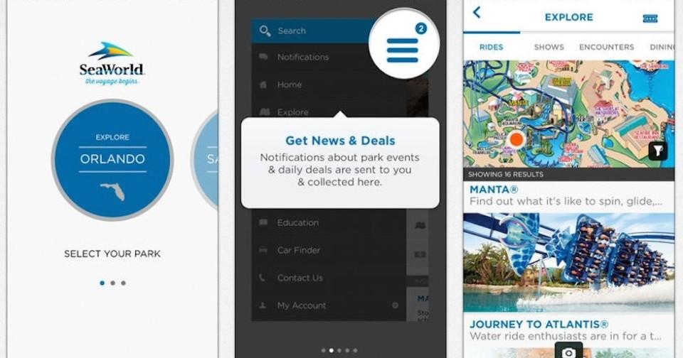 SeaWorld app screen shots