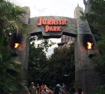 Jurassic Park entry arch near The Wizarding World of Harry Potter - Hogsmeade.