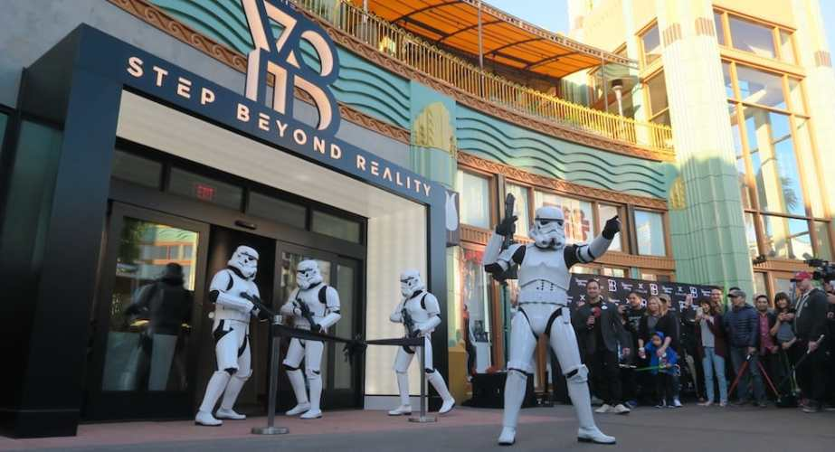 Star Wars Stormtroopers outside the new Secrets of the Empire VR experience at Downtown Disney.