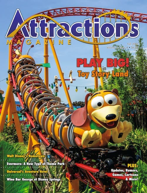 Fall 2018 cover of Attractions Magazine featuring Toy Story Land
