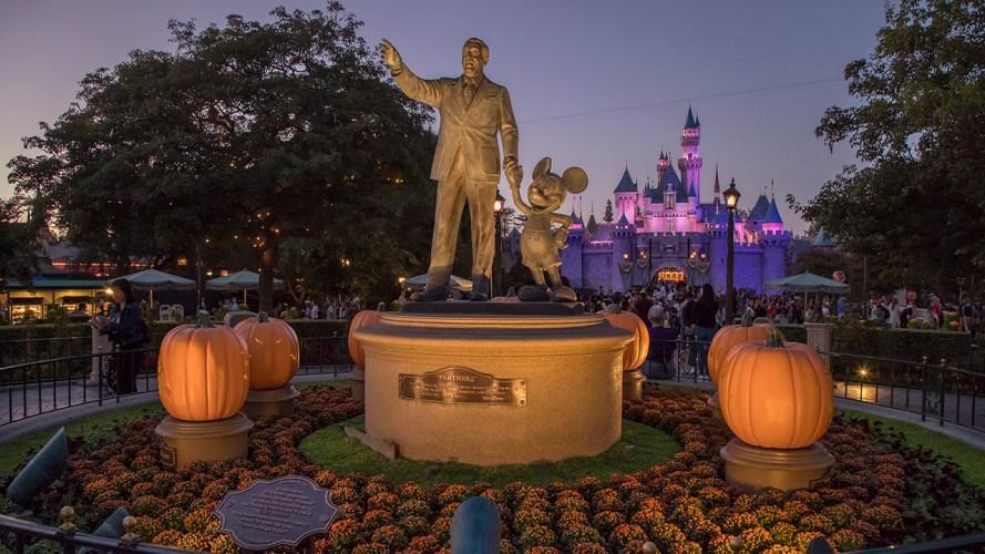Partners Statue and Sleeping Beauty Castle at Disneyland park - Halloween Time - 9/10/18. (Joshua Sudock/Disneyland Resort)