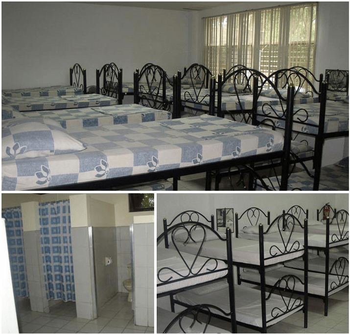 4 dormitory type rooms Can accommodate 20 persons per room With electric fans