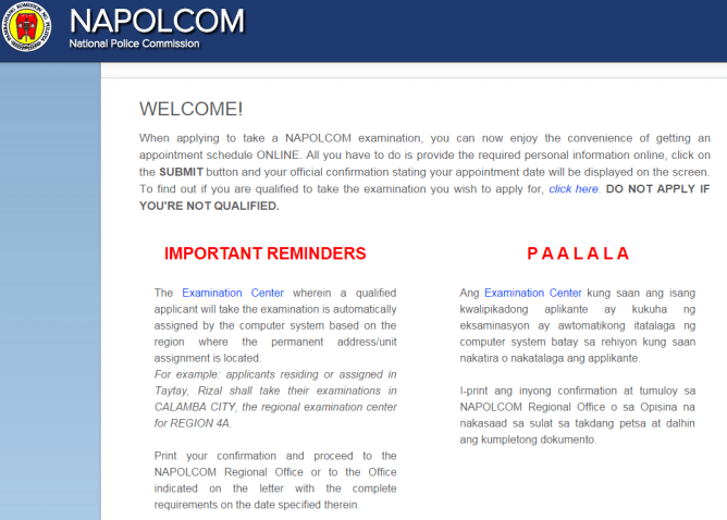 Napolcom Oleass For April 2015 Pnp Entrance Amp Promotional