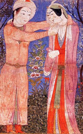 Anonimo, Coppia in giardino, dipinto dal manoscritto Baghdad Tabriz