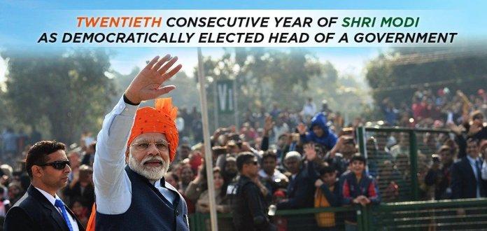 प्रधानमंत्री नरेन्द्र मोदी लोकतांत्रिक तरीके से चुने गए सरकार के प्रमुख के रूप में 20वें वर्ष में प्रवेश किया