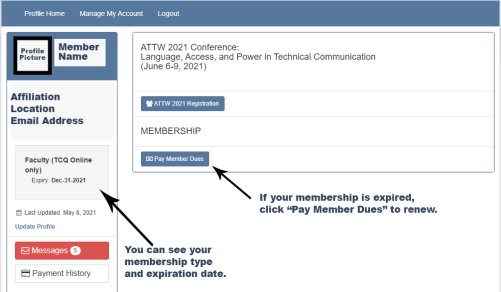 Screenshot of membership portal indicating the placement of membership type and expiration date on the left side under a profile picture and a Pay Member Dues button at the bottom of the main screen.