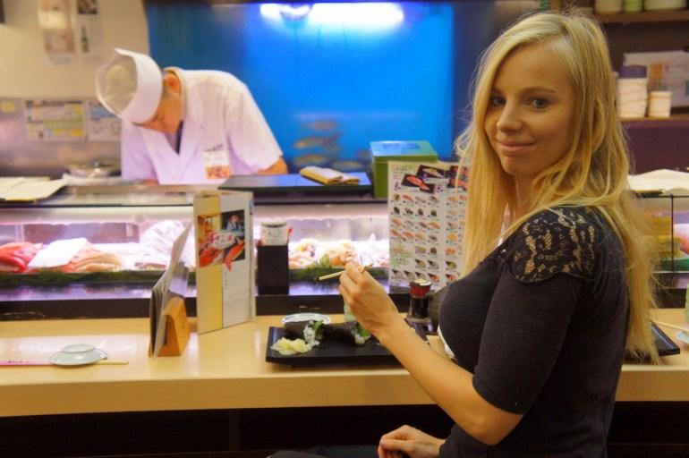 Eating sushi in Tokyo