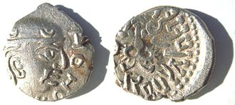 Silver coin of the Gupta King Kumaragupta I (Coin of his Western territories, design derived from the Western Satraps).