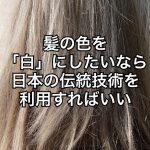 『ホワイトカラー』髪色を白にしたいなら日本の伝統技術を利用すればいい