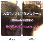 大阪でノンジアミンカラーの白髪染めが出来る美容院を探していました《旭区千林守口》
