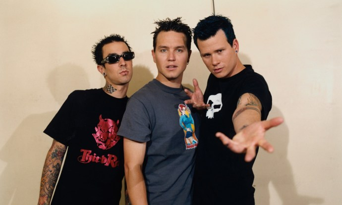 Blink-182's original formation (L to R): Travis Barker, Mark Hoppus, Tom DeLonge