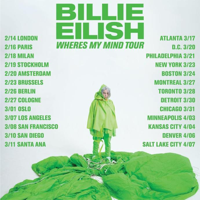 where's my mind tour billie eilish poster