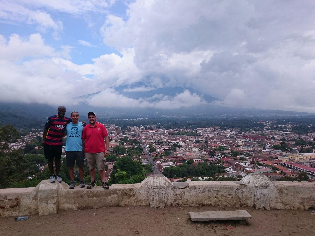 Sebastian, Man, and I on a hill outside the city.