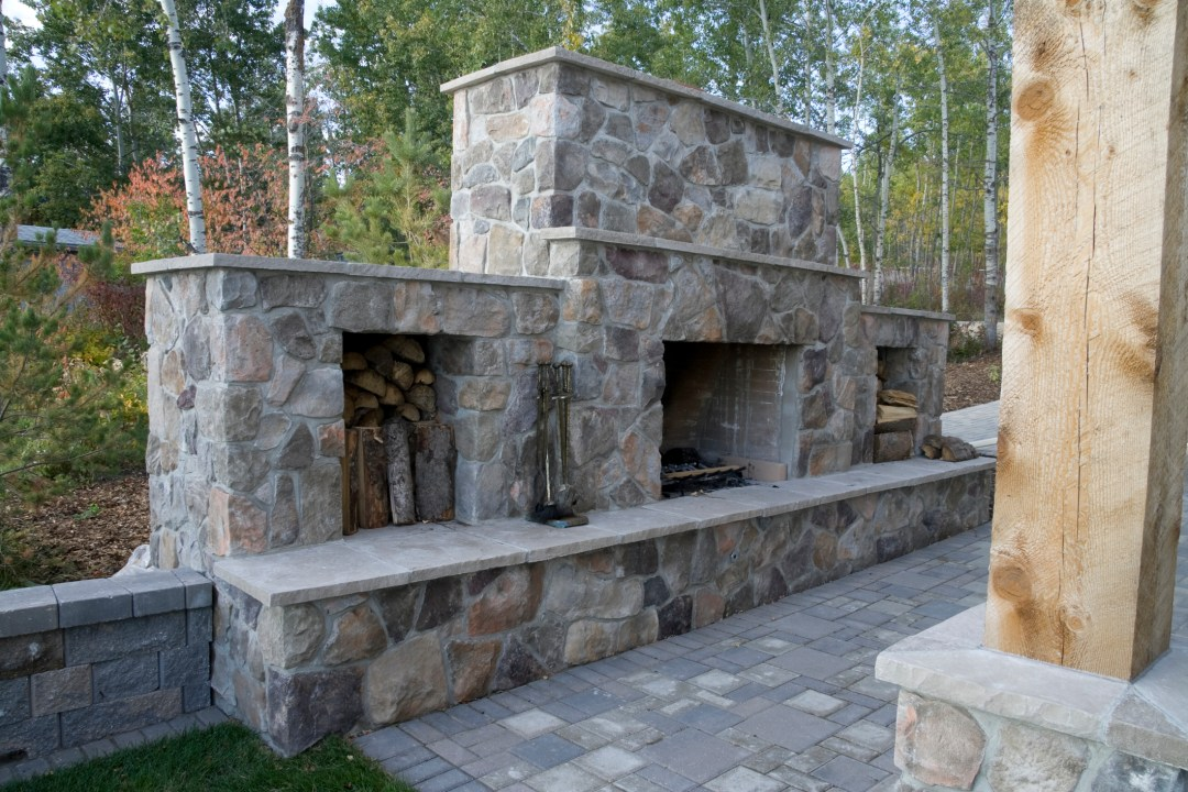 Outdoor stone fireplace in austin,Texas