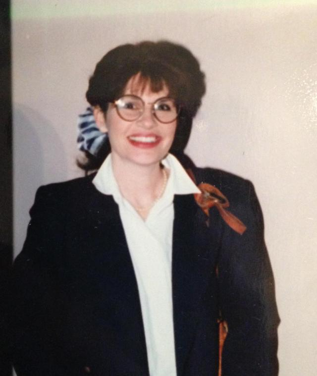 My early '90's look. I still love those big-ass bows on the metal clips. I lost a lot of weight and love this pic.