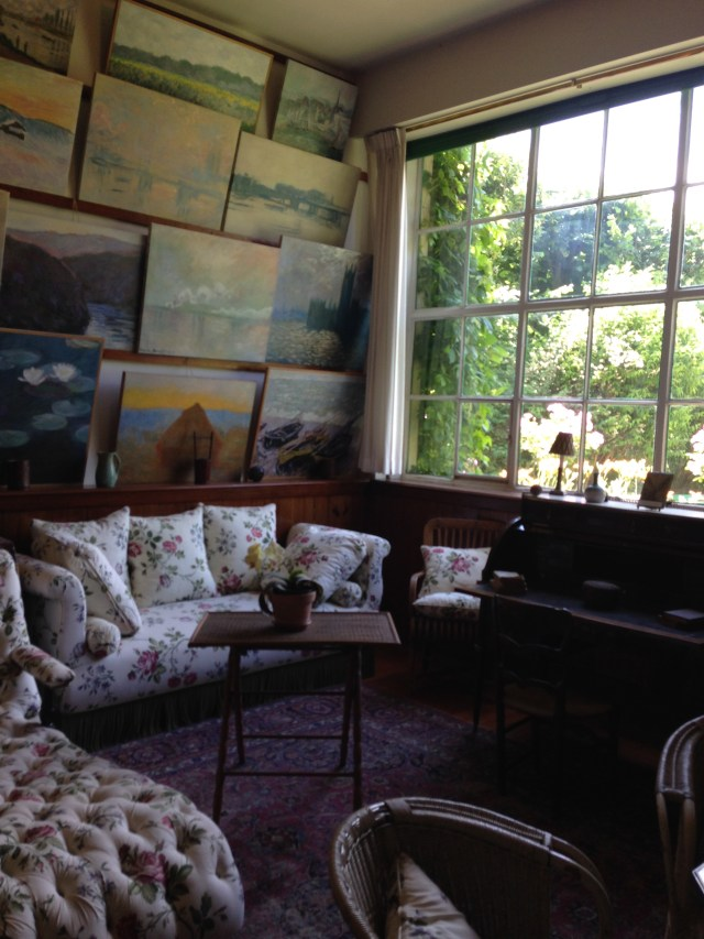 Giverny. Corner view of studio paintings.