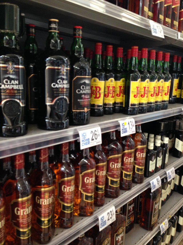 Theoule. Geant. Booze at the hypermarche