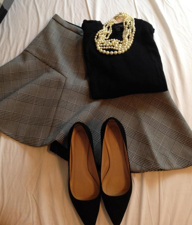 Black plaid J. Crew Skirt. Black Tippi Different pearls and black shoes