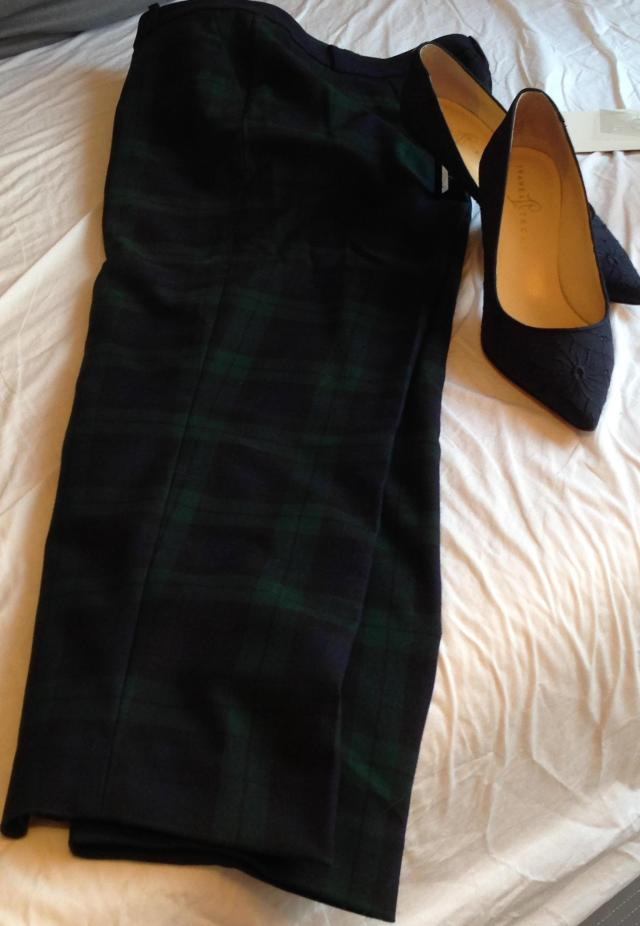 Black watch plaid ankle pants