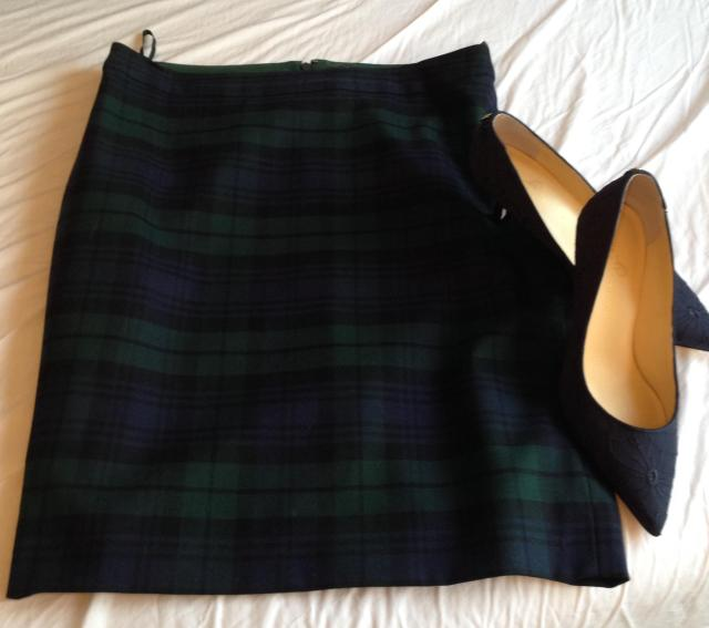 Black watch plaid pencil skirt