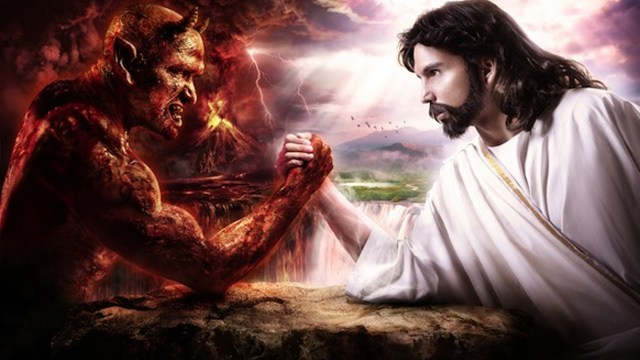 Devil and hipster jesus