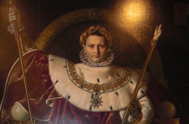 Invalides. Napoleon Bonaparte.Fur collar. Wreath in hair. Hippie and matron look.