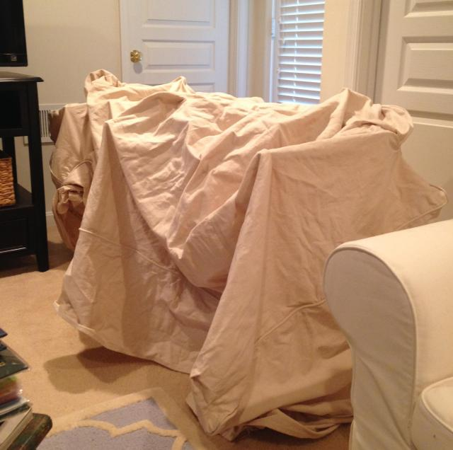 drying covers in family room