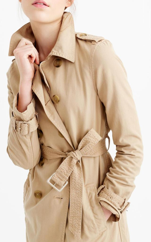 Crew washed cotton trench coat