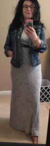 Loft Lou & Gray maxi denim jacket belt and rondini sandals