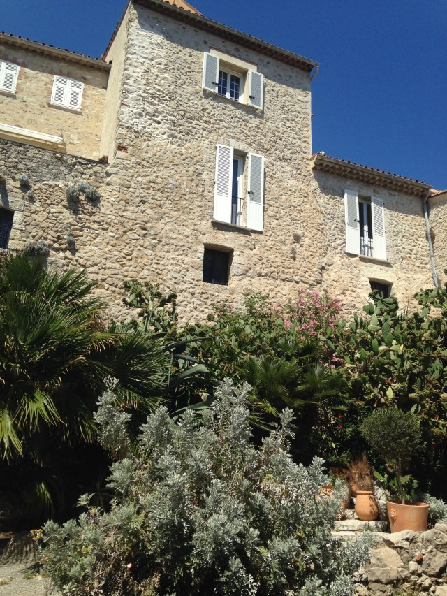 Antibes. This is either a stone house or the side of the Picasso Musee