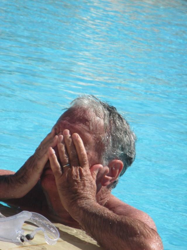 Theoule. Pool. Bonaparte Spitzer after a swim.