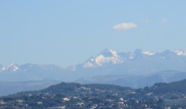 Theoule. pool. Snow covered alps from the pool.