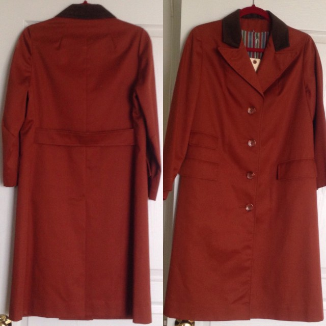 The coat front and back views