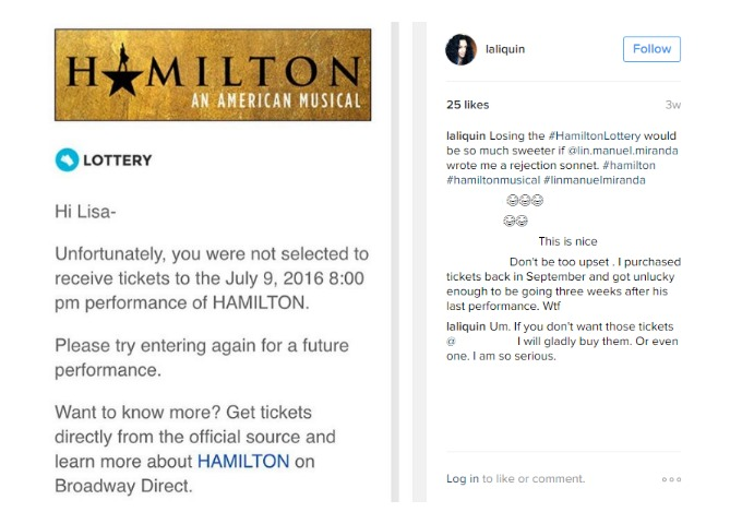 Losing the Hamilton Lottery again