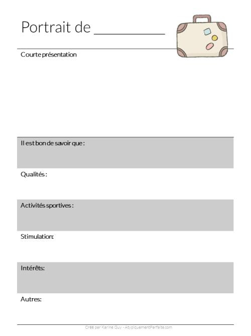 Présenter son enfant pour favoriser une transition positive entre la garderie et l'école ou entre deux écoles peut être une bonne idée. Ça permet de mettre l'accent sur les qualités, les forces et les intérêts de l'enfant plutôt que d'uniquement voir ses besoins et ses défis comme le mettent en lumière les spécialistes qui produisent des évaluations. Voici un modèle qui peut vous aider à le faire aussi. #présentation #portrait #entréescolaire #inclusion #forcesetaptitudes #trisomie21 #besoinsparticuliers #enfantsàbesoinsparticuliers #outil