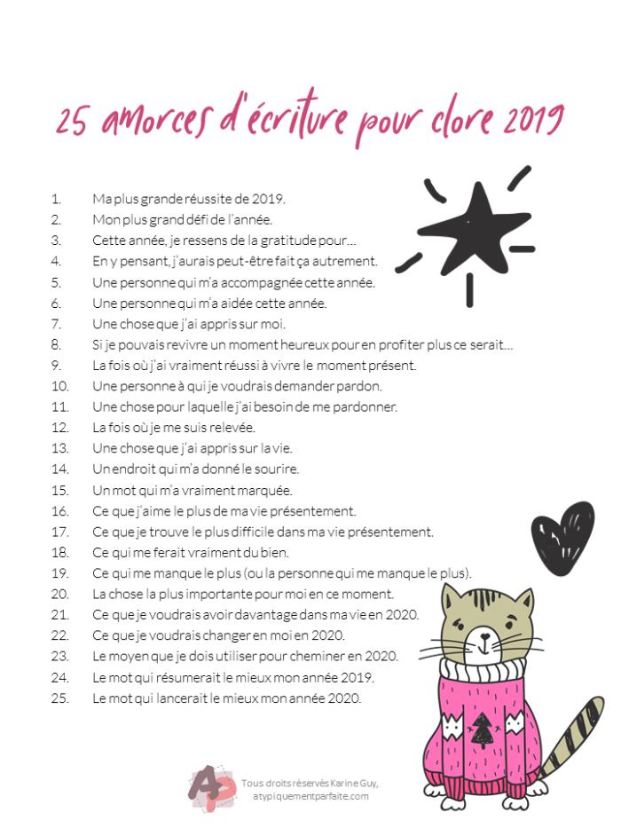 2019 se termine. Voici un calendrier de l'avent contenant 25 amorces d'écriture pour faire le point sur ce qui est passé et ce qui s'en vient. #MonAventAtypiquementParfait #MonAventAP #CalendrierAvent #journaling #écriture #développementpersonnelle #bilan