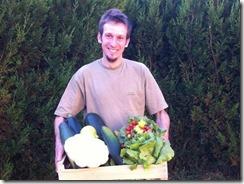 Yannick Hirel et récoltes de salades